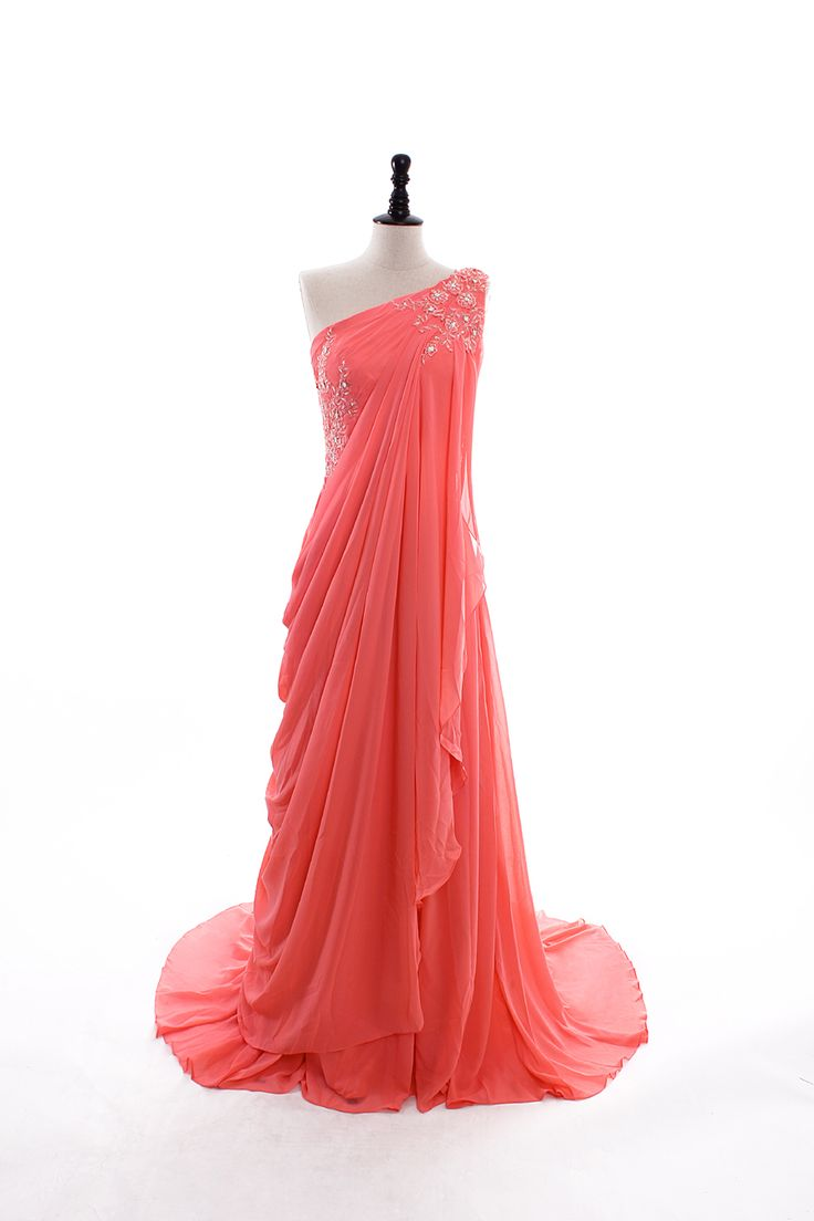 Chiffon One Shoulder Hand Beaded Floor Length Dress... this (in a different color) would be an amazing wedding dress.