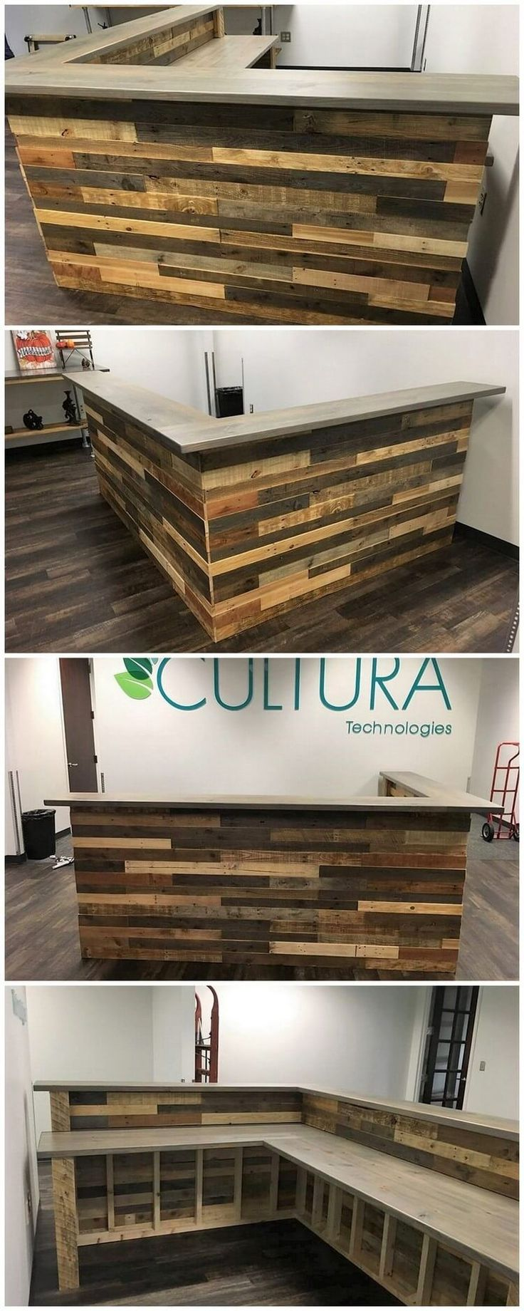 This is the overall image of the wood pallet amazing L shaped counter table or the desk table to make it part of your house right now. Even though if you are starting up a bar counter business, then choosing such alternatives of the bar counter designs would end up the whole bar office mind-blowing looking for sure! #buildwoodtable