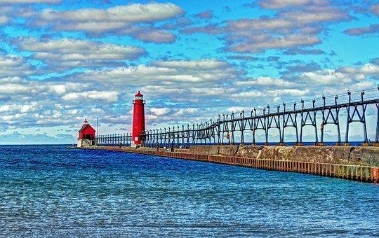 灯台, 壮大な避難所の桟橋, ミシガン湖, 光, キャットウォーク
