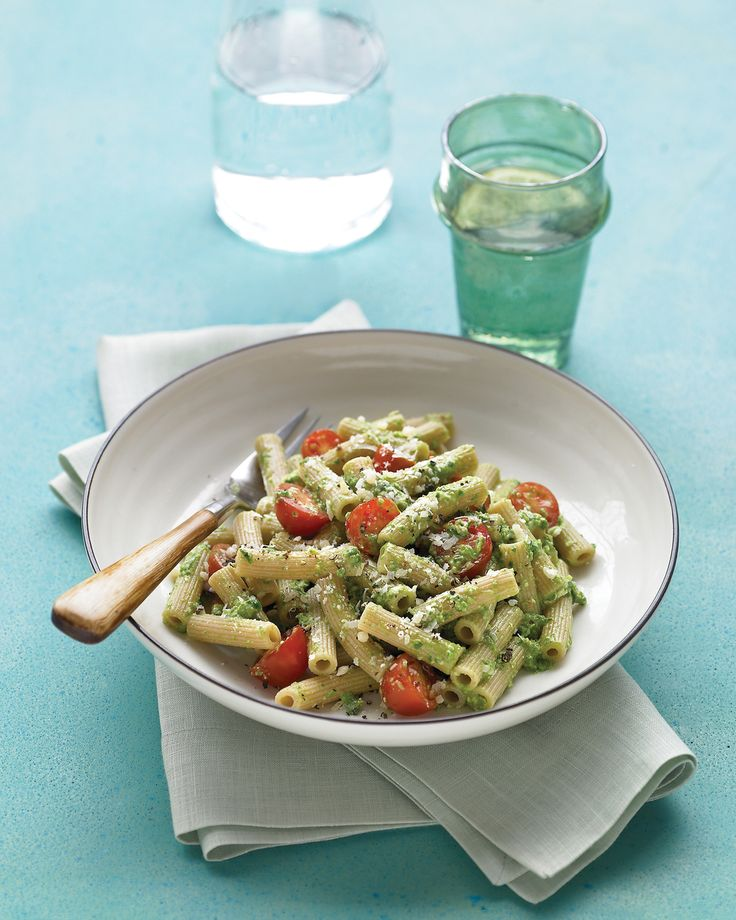 In this hearty pasta dish, using spinach instead of basil makes for a more nutritious take on pesto.