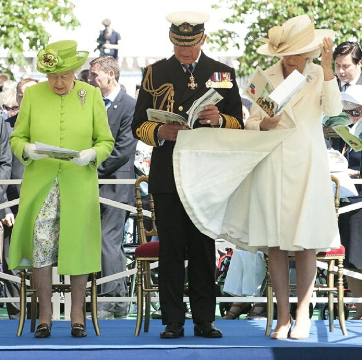 (L-R) Queen Elizabeth ll, Prince Charles, Prince of Wales and Camilla, Duchess of Cornwall attend a service at Bayeux Cemetary during D-Day 70 Commemorations, 06.06.2014 in Bayeux, France.