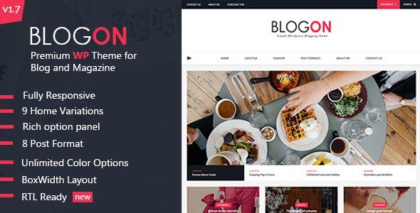 Blog | Responsive WordPress Food Blog Theme | #food #blog #theme | get it today: https://themeforest.net/item/blogon-a-responsive-wordpress-blog-theme/13310580?ref=dronestarstudio