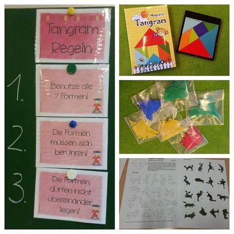 """Heute besuchte uns das Tangram im Unterricht. Mit Hilfe der Geschichte """"das kleine Quadrat und die Wasserfee"""" habe ich den Einstieg gestaltet. Lieben Dank an @materialwiese für die Tangram-Regelkarten Mit Hilfe der Tangram Boxen von timetex konnte jedes Kind selbst aktiv Tangramfiguren legen. Gute Kopfgeometrie-Übung #grundschule #unterricht #mathematik #tangram #mathespaß #teachersfollowteachers"""