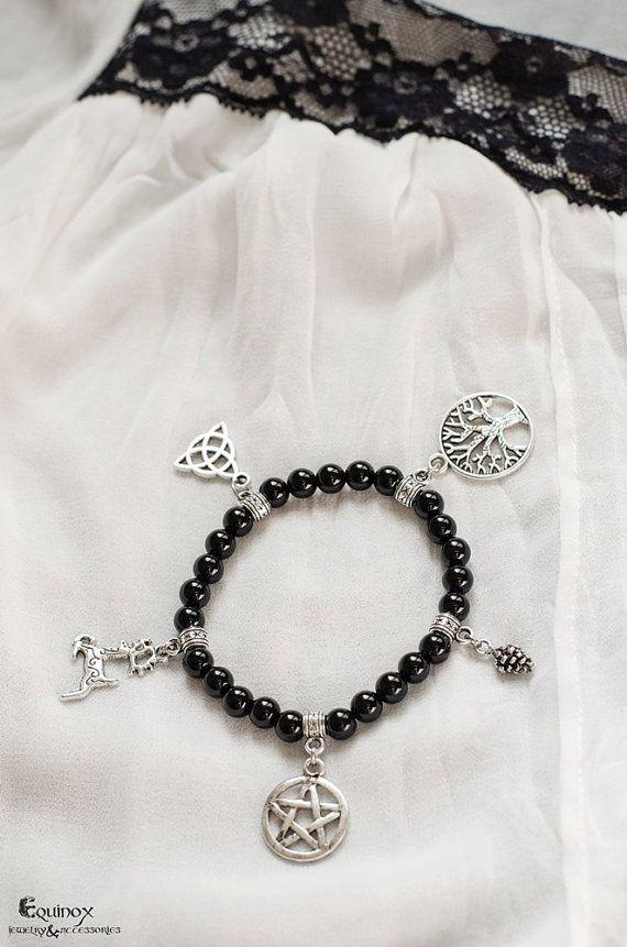 Pagan Spirit pagan bracelet with black onyx and by VictoriaEquinox