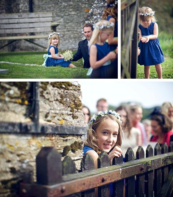 Flower girls at a South Devon wedding - waiting for the bride and groom! Blue bridesmaids dresses