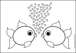 kleurplaat visjes liefde