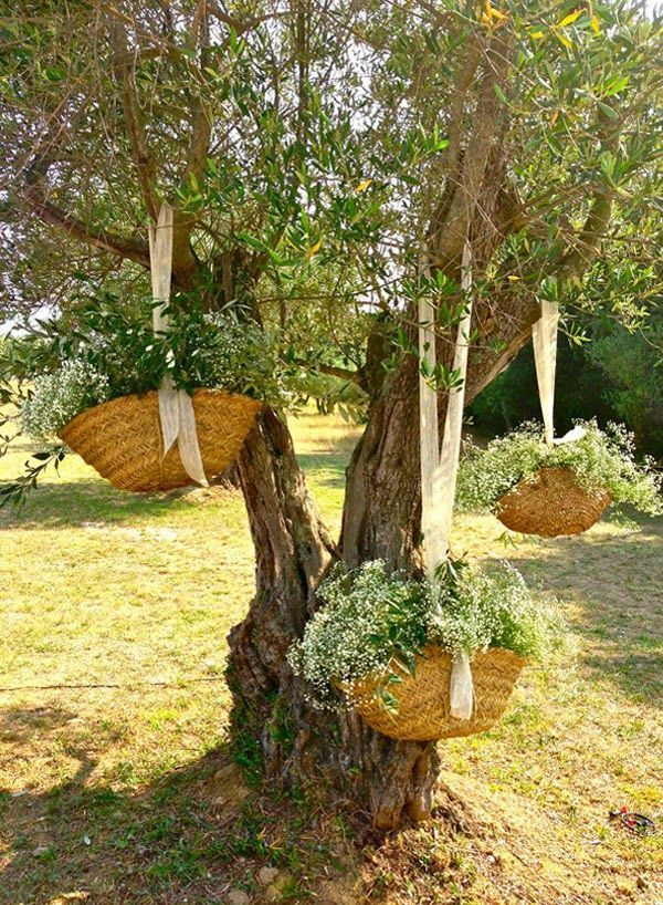 How about these hanging baskets of blooms for a wedding decor!