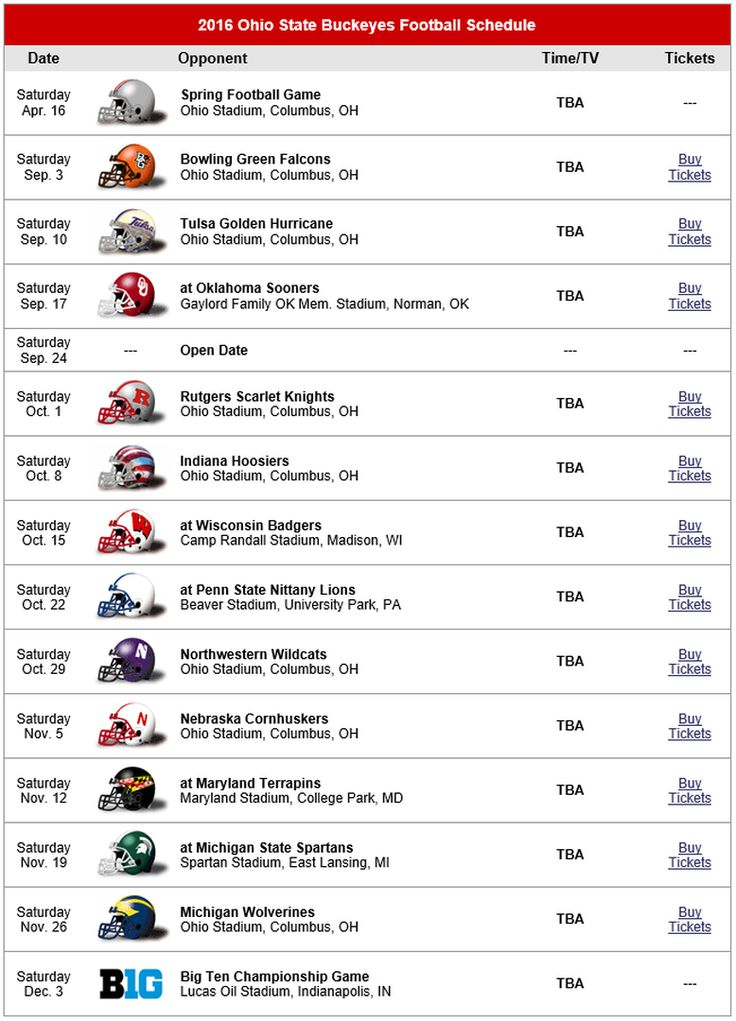 2016 OHIO STATE BUCKEYES FOOTBALL SCHEDULE.