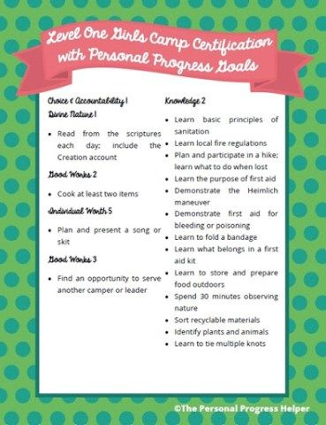 Level One Girls Camp Certification with Personal Progress Goals