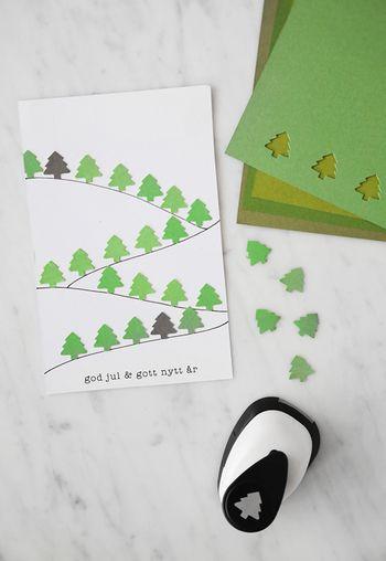 ツリー型のパンチは、クリスマスはもちろん、ナチュラルテイストに仕上がるのでおすすめのモチーフ。色々なグリーンを使って森をイメージして。