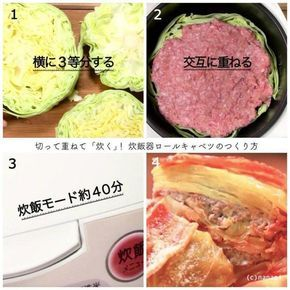 包むとかミルフィーユにする作業すら面倒で省略したら、断面から肉汁がしみやすくて最高だった件!キャベツをはがさずに 丸ごと切って肉と重ね、最後にベーコンをかぶせて炊飯器で40分!野菜たっぷり肉汁しみしみ…( ˆpˆ )/