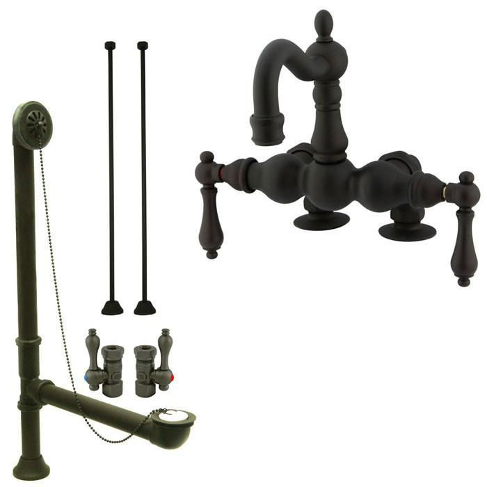 Oil Rubbed Bronze Deck Mount Clawfoot Tub Faucet Package w Drain ...