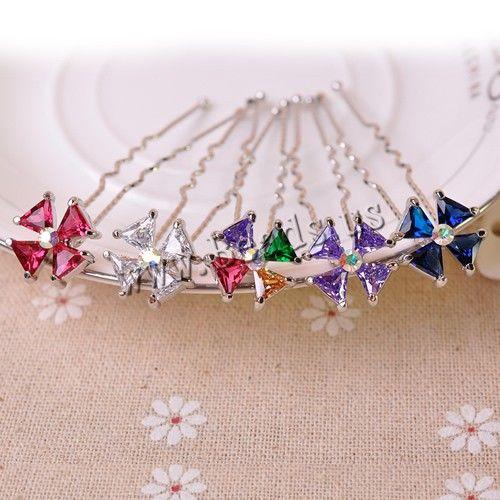 Pasadores para Cabello, aleación de zinc, con Cristal austriario, Flor, chapado en color de platina, con diamantes de imitación de Checo & facetas, más colores para la opción, libre de níquel, plomo & cadmio