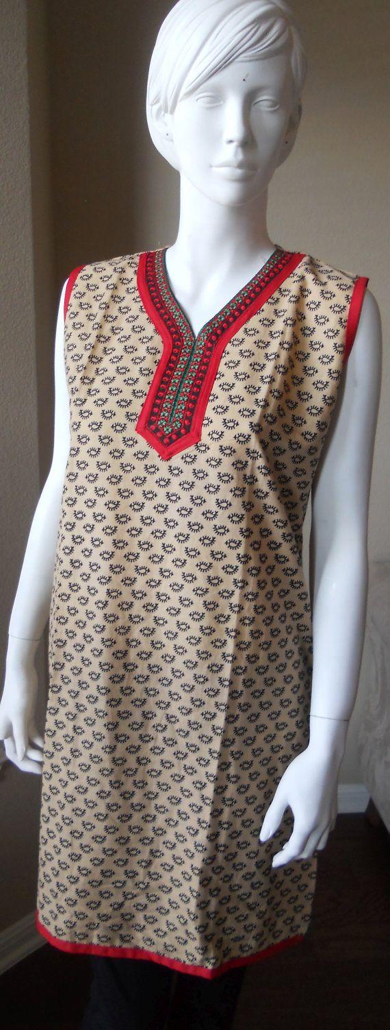 Sleeveless Cotton Kurti / Tunic with red collar by Bhargavis, $24.99 ~ earth tones