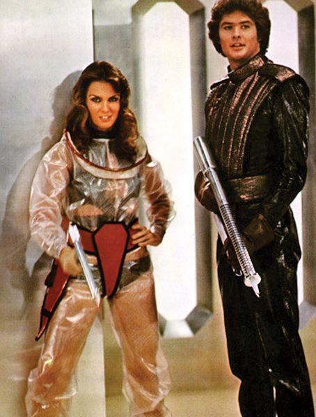 Caroline Munro and David Hasselhoff in Starcrash, a cheesy Italian sci fi effort.