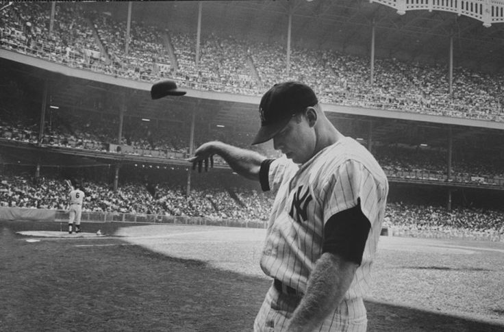 Mickey Mantle Takes Out His Bad Day On His Batting Helmet. #Yankees