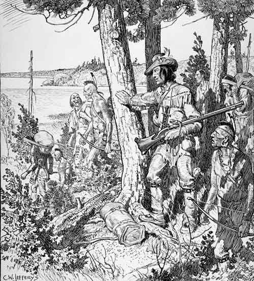 L'explorateur français Étienne Brûlé avec des autochtones en 1615 en Nouvelle-France