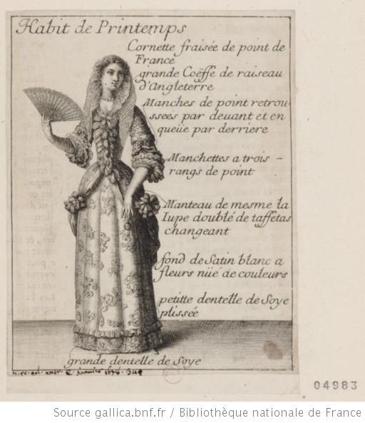 Costume de femme. Habit de Printemps. Cornette fraisée de point de France...