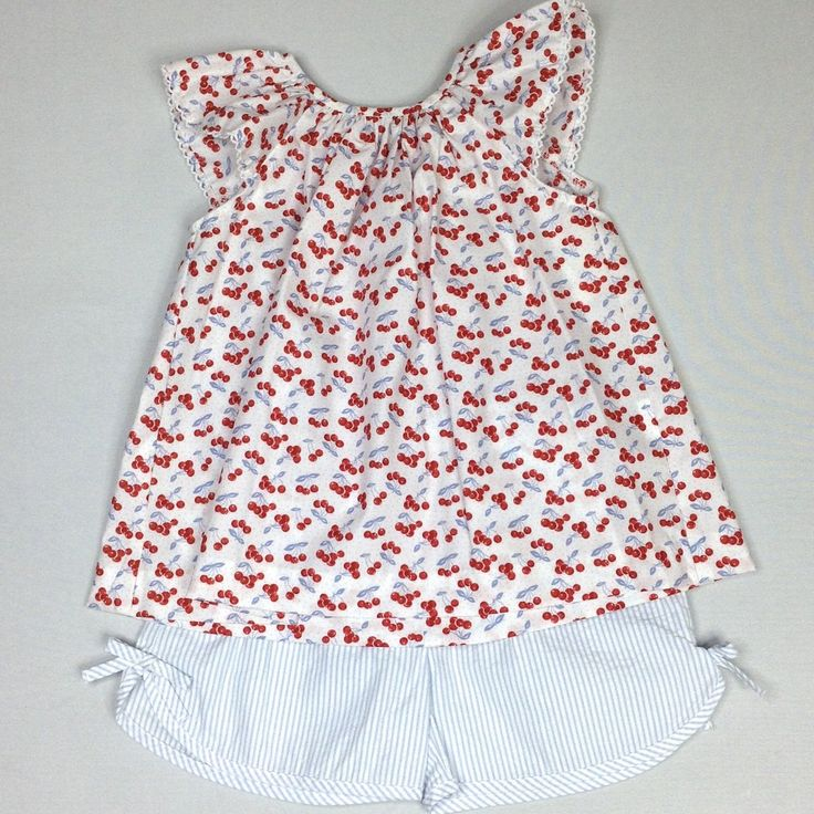 White, Red, Blue Small Cherries Blouse with Light Blue and White Seersucker Shorts with Bow