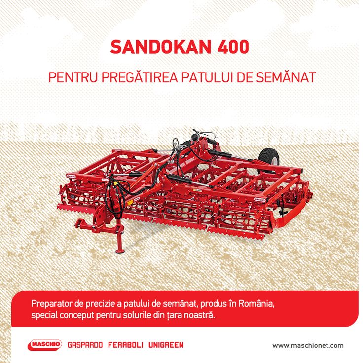 Pentru pregătirea finală a solului înainte de semănat, îți punem la dispoziție preparatorul de precizie Sandokan 400 la un preț special! Utilajul este prevăzut cu un cadru pliabil și rulou dublu crosskill, având o lățime de lucru de 400 cm, o greutate de 4.300 kg și o adâncime de lucru de 10 cm. Pregătește-te pentru noul sezon agricol cu Sandokan 400 produs în România, special conceput pentru condițiile și terenurile din țara noastră.