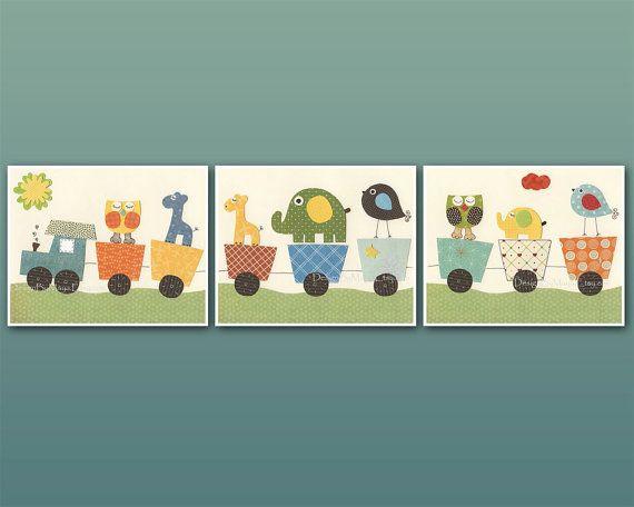 Nursery wall art print, set of 3 11x14 prints, baby room wall art, kids play room decor, Train, elephant, giraffe, Circus Friends Nursery