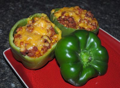 Harveys Beef Stuffed Peppers... A delicious dish with a creative presentation.