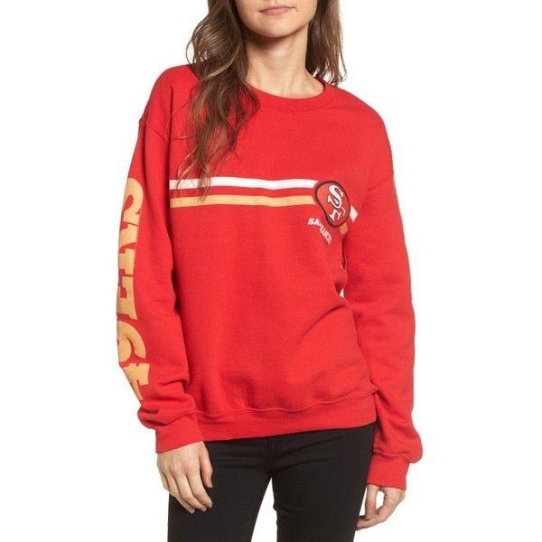 Women's Junk Food Retro Nfl Team Sweatshirt (€63) ❤ liked on Polyvore featuring tops, hoodies, sweatshirts, retro tops, red sweatshirt, retro sweatshirts, junk food clothing and nfl sweatshirts