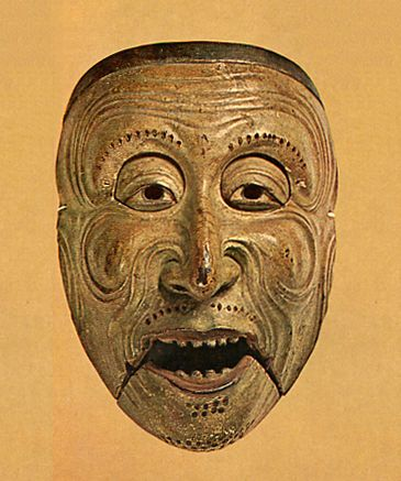 "A mask of Japanese Bugaku. For ""Saisourou"" 1249. Kamakura era. This is nightmare material in my childhood"