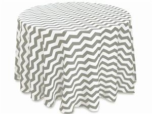"""Silver/White Chevron Tablecloth, Size 108"""" Round https://www.etsy.com/shop/Zemboor"""