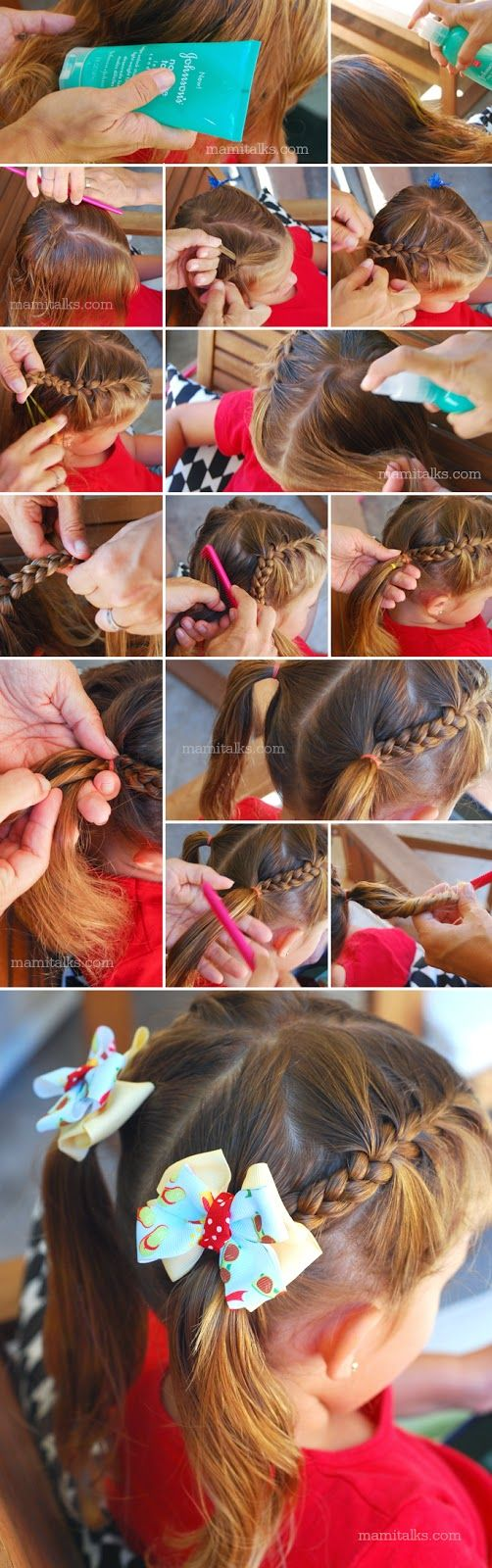 Mami Talks Back To School Hairstyle Half Braided Pigtails Kids Hairstyles Pinterest