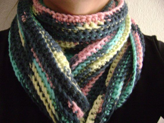Multicolored infinity scarf.