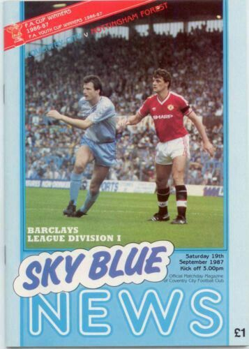 Coventry City 0 Nottm Forest 3 in Sept 1987 at Highfield Road. The programme cover #Div1