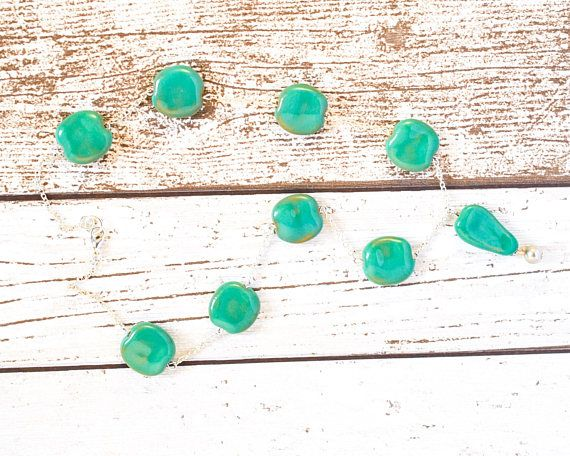 Aqua Green Kazuri Necklace - Jungle Green Fair Trade Necklace - Sterling Silver Chain Necklace - Kazuri Bead Pendant Necklace - Green Bead thecoastaldesert The Coastal Desert handmade jewelry jewellery