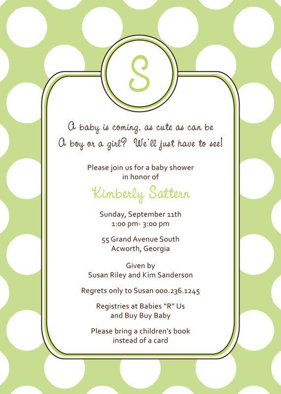modern monogram baby shower invitation green baby shower polka dots shower gender neutral shower
