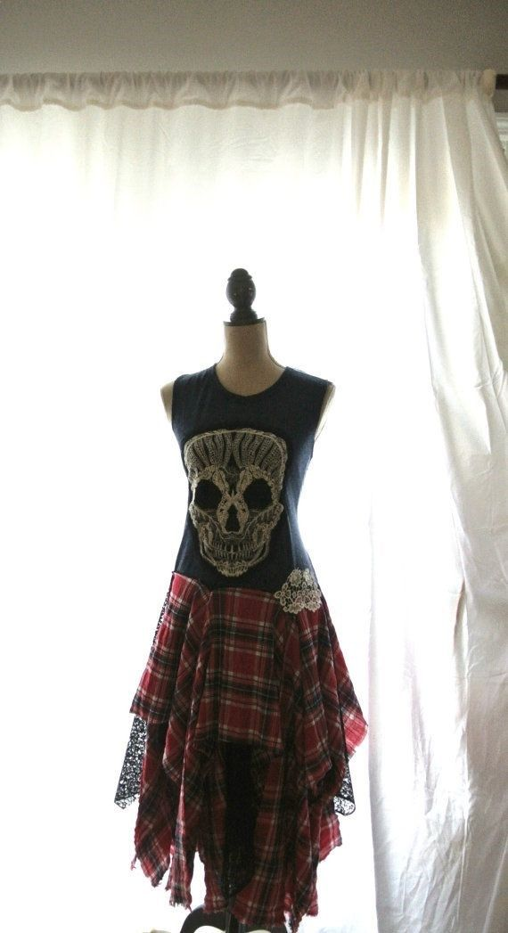 Punk dress fall tartan plaid pretty punk rock by TrueRebelClothing, $78.00