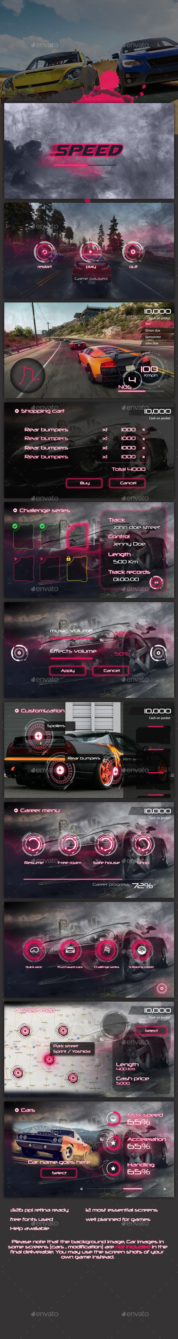 Sci-fi Racing Game UI PSD