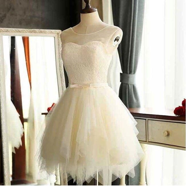 Wonderful Illusion Neck Lace Bodice Little White Dresses,Short Wedding Dresses,Simple Homecoming Dresses,Hot 31 Regular price
