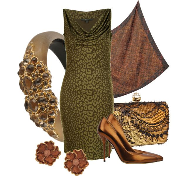 Textured olive green dress with metallic accessories for a super sexy DYT Type 3 outfit.
