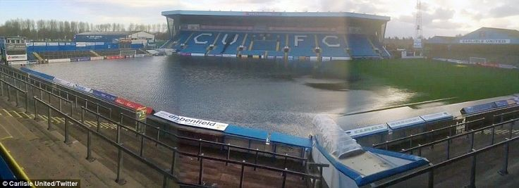 A full width picture from their Twitter account shows just how badly the Carlisle United pitch was affected by Sunday's heavy downpours