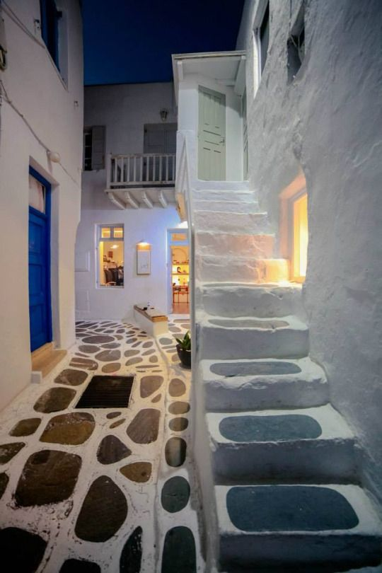 Mykonos by night, Greece
