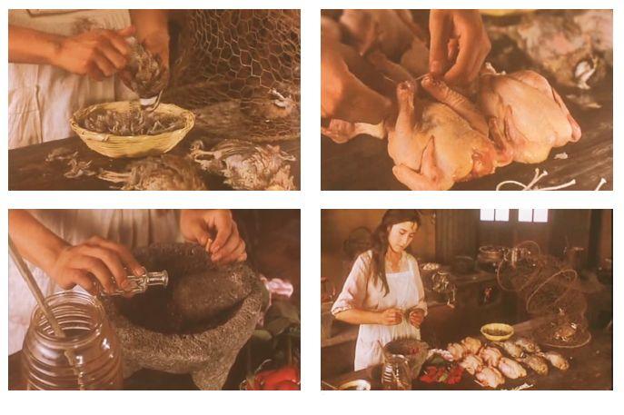 Come l'acqua per il cioccolato - Como agua para chocolate (1992) Alfonso Arau. L'amore contrastato tra Tita e Pedro prosegue furtivamente all'insegna della trasgressione. Nell'impossibilità di esprimere apertamente i propri sentimenti all'innamorato, Tita utilizza un mezzo insolito per comunicare con l'amato: il cibo. Durante la preparazione delle quaglie ai petali di rosa, il suo corpo voluttuoso, profumato, caldo e irresistibilmente sensualesi si fonde nella salsa.