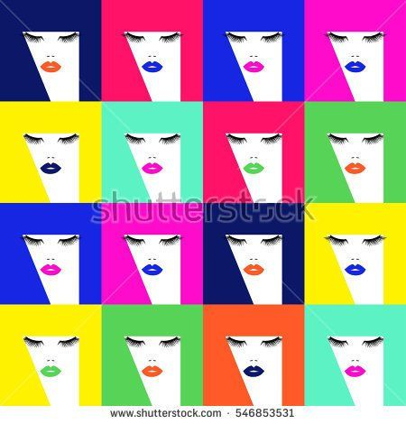 Pop art pattern with woman face, different colors lips and abstract colorful hairs. Vector illustration