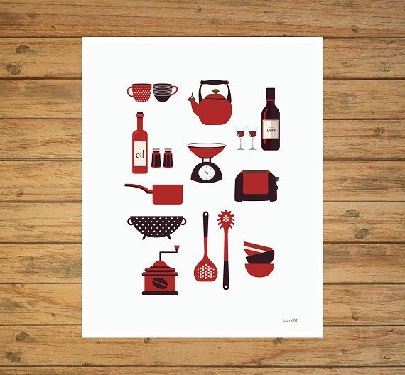kitchen print modern kitchen art kitchenware by Ilustracionymas