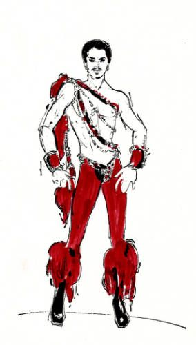 Bob Mackie Showgirl Costume Sketch | Costume design drawing, shirtless male dancer in red tights, Las Vegas ...