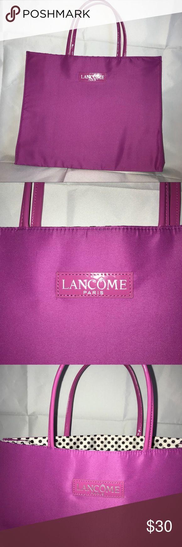 Pink and polka dot Lancôme Paris large tote bag Lancôme Paris Fuchsia and white and black polka dot  Polka dots in inside  Large tote No flaws or damage Lancome Bags Totes