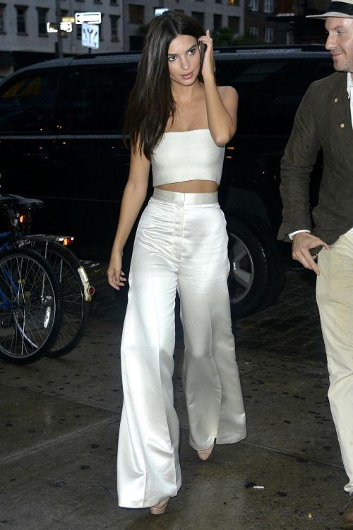 Emily Ratajkowski | Silk white wide leg pant + matching bandeau top #minimal #chic #summer