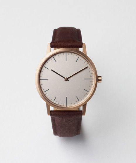 152 SERIES (PVD Rose Gold / Walnut Leather) | Uniform Wares - definitely top of my Christmas wish list! So chic and minimalist.