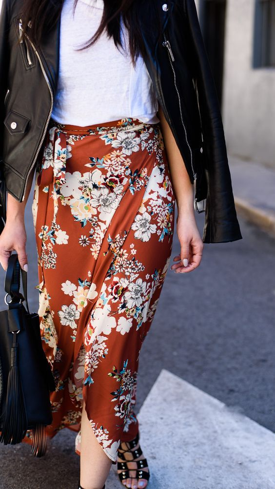 floral wrap skirt and leather jacket fall outfit winter outfit