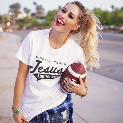 """""""Sundays Are For Jesus and Football"""" Tee"""