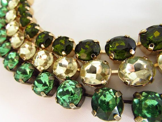 Green Anna Wintour Necklace Peridot Necklace Set by damesalamode